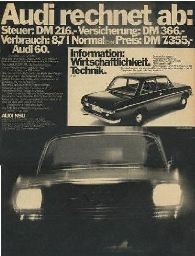 1970 AUDI 60 ZWEITÜRIGE LIMOUSINE NON-COLOR AD