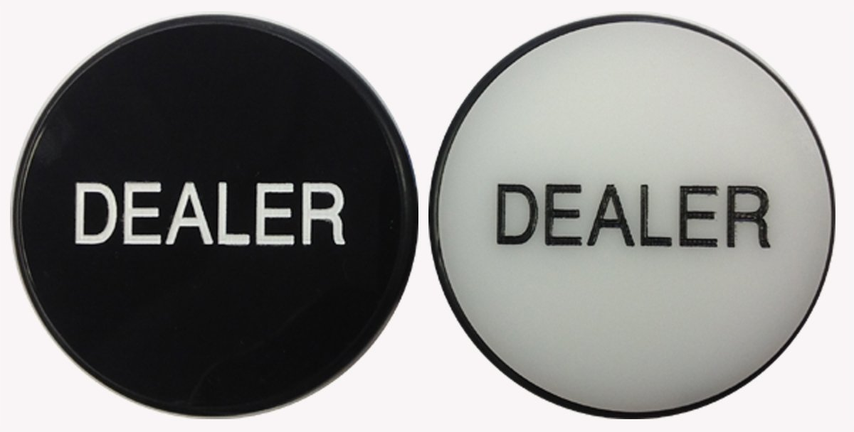 DOUBLE-SIDED 3'' ACRYLIC POKER CASINO DEALER BUTTON / PUCK