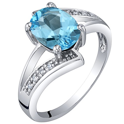 (14K White Gold Genuine Swiss Blue Topaz and Diamond Solitaire Bypass Oval Ring 1.25 Carats Size 5)