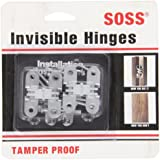 SOSS 203 Zinc Invisible Hinge with Holes for Wood or Metal Applications, Mortise Mounting, Unplated (Pack of 2)