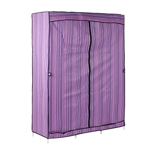 Belovedkai Portable Clothes Closet Wardrobe 68''+70'' Clothes Stainless Rack Storage Wardrobe Cabinets Folding Closet Wardrobe (Purple) by Belovedkai