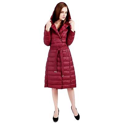 Abrigo largo de la chaqueta de las mujeres Abrigo de Invierno para Mujer con Capucha Chaqueta Ultra Ligera Abajo Chaqueta Delgada y Larga sólida Abajo Pluma Femenina Abajo Parkas portátiles,Winered,L: Hogar