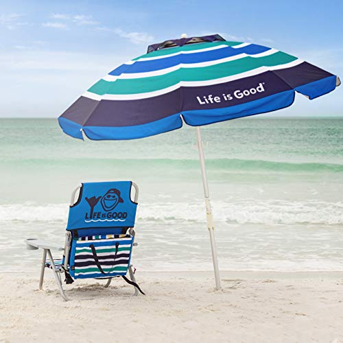 Life is Good Beach Chair with Cooler, Backpack Straps, Storage Pouch and Cup Holder (Jake Blue)