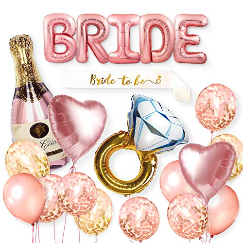 Balloona Bride Balloon Bachelorette Party Decoration Kit - Hen Party Decorations Balloons Set - Bridal Shower Supplies & Accessories
