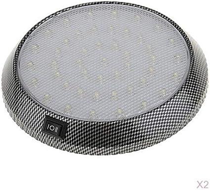 D DOLITY 2Pcs White 12V 46-LED Ceiling Light Auto Dome Roof Interior Light Lamp White for Car Van Truck RV Camper Boat