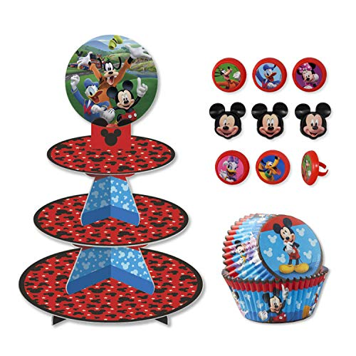 Mickey Mouse Cupcake Stand Kit with Liners and Toppers