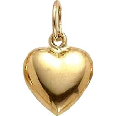 Amazon.com  14K Yellow Gold Puffed Heart Charm Pendant Jewelry 8 x 6 ... 8cf4d8306