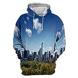 Unisex Fashion 3D Digital Printed Pullover Hoodies,City,