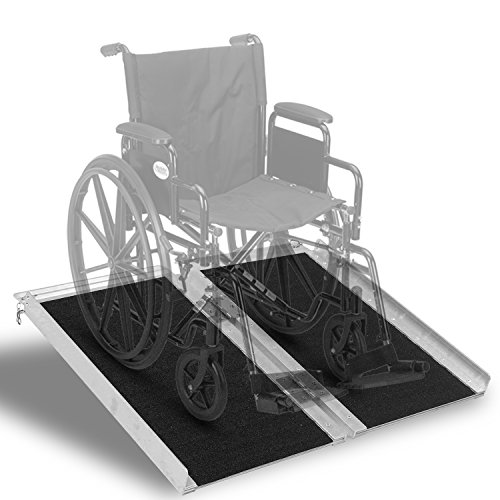 Portable Aluminum Wheelchair Ramp Folding Mobility Scooter Traction Ramp 2 (2' Threshold Ramp)