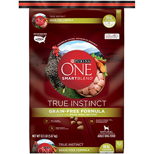 Purina ONE SmartBlend True Instinct Grain-Free Formula with Real Chicken & Sweet Potato NATURAL Adult Dry Dog Food - (1) 12.5 lb. Bag (Dog 1)