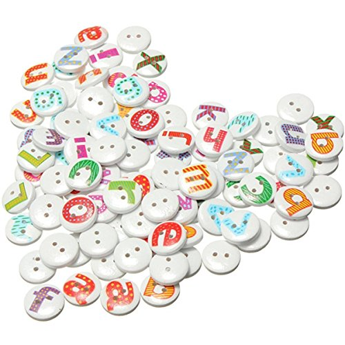 Alphabet Buttons (SODIAL(R) 100Pcs Mixed Painted Letter Alphabet Wooden Sewing Button Scrapbooking)