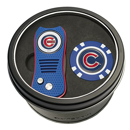 Team Golf MLB Chicago Cubs Gift Set Switchblade Divot Tool & Chip, Includes 2 Double-Sided Enamel Ball Markers, Patented Design, Less Damage to Greens, Switchblade Mechanism