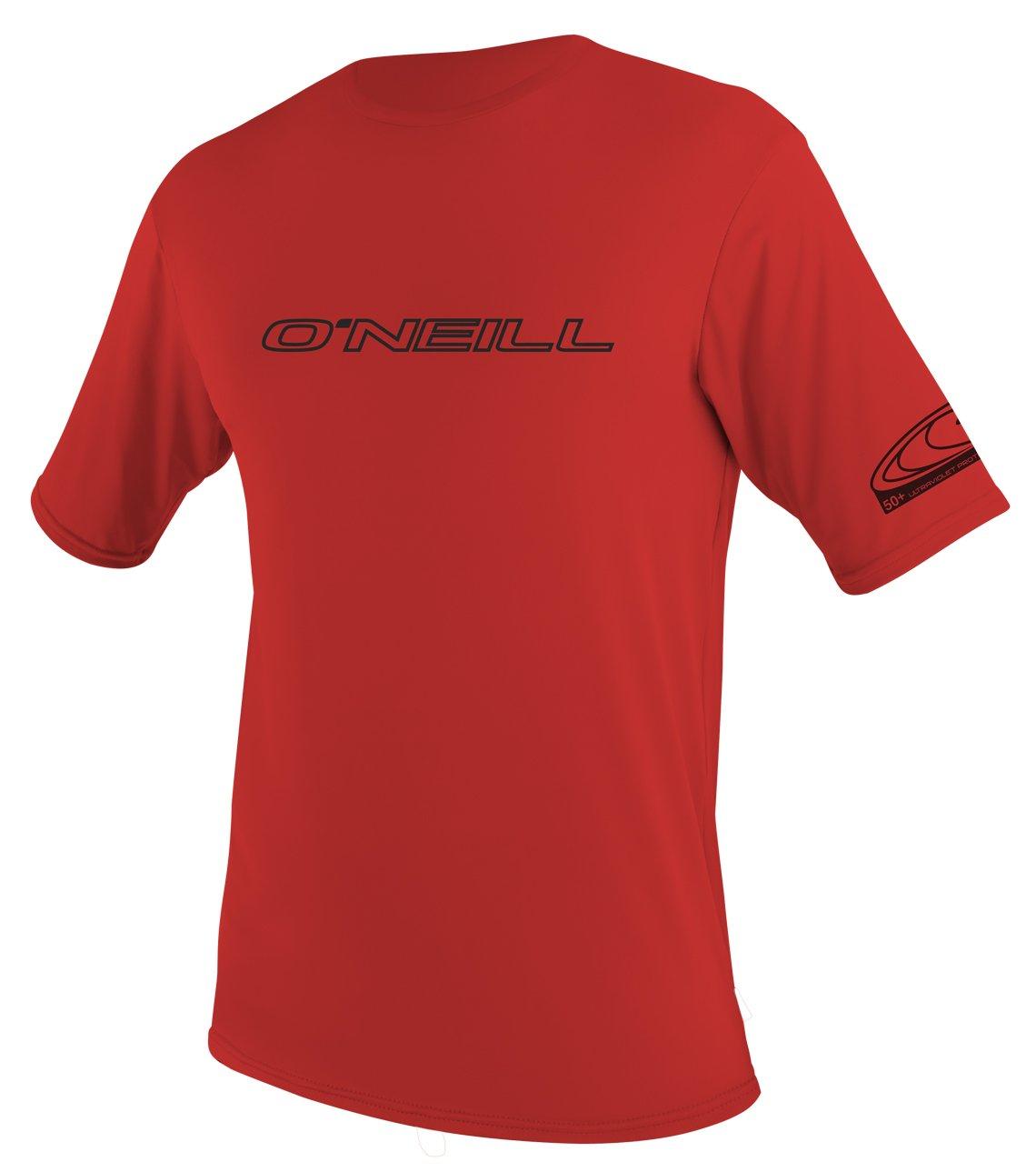 O'Neill Wetsuits Men's Basic Skins UPF 50+ Short Sleeve Sun Shirt, Red, Small
