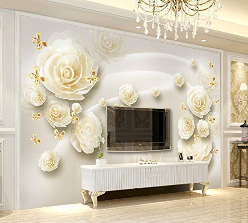 Amazon Com Murwall Floral Wallpaper Cream Rose Wall Mural Gold Butterfly Wall Print Classical Home Decor Cafe Design Living Room Bedroom Handmade