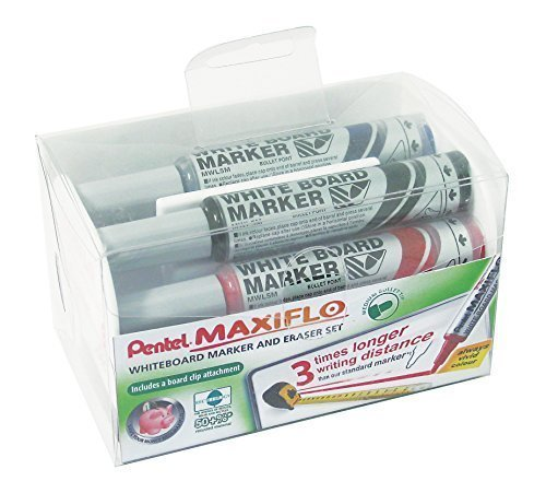 Pentel Maxiflo Medium Dry Wipe Marker & Magnetic Eraser Set (Marker Whiteboard Pentel)