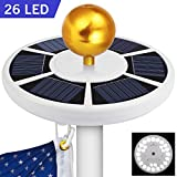 Blinngo 26 LED Flag Pole Lights Solar Powered, Waterproof Flagpole Downlight for Most 15 to 25 Ft Dusk to Dawn Auto On/Off Night Lighting