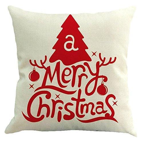 TWGONE Christmas Pillow Covers 18x18 Set of 4 Retro Decor Sofa Waist Throw Cushion Cases (18