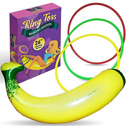 """Inflatable Banana Ring Toss Bachelorette Party Game - Bridal Shower Games, Decorations and Supplies for Engagement Parties, Girls Night Out and Bride To Be Favors - 26"""" Banana with 3 Rings for Tossing"""