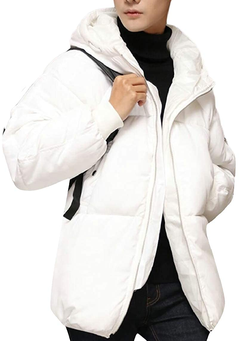 Jmwss QD Mens with Hood Solid Color Hipster Relaxed Fit Thicken Padded Down Jacket Coat