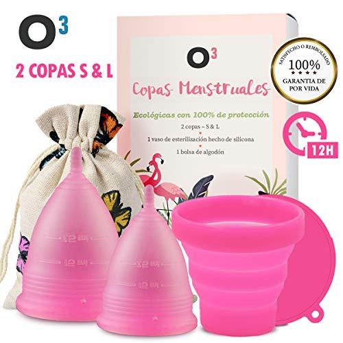O³ Copa Menstrual Ecologica 2 Unidades – S y L – Con Esterilizador Copa Menstrual y Bolsa De Almacenamiento – La Copa Menstrual – Solución Ecológica y Económica