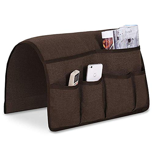 Guken Sofa Armrest Organizer, Couch Arm Chair Caddy Storage with 6 Pockets for TV Remote Control,Magazine,Smart Phone,Books, iPad ()