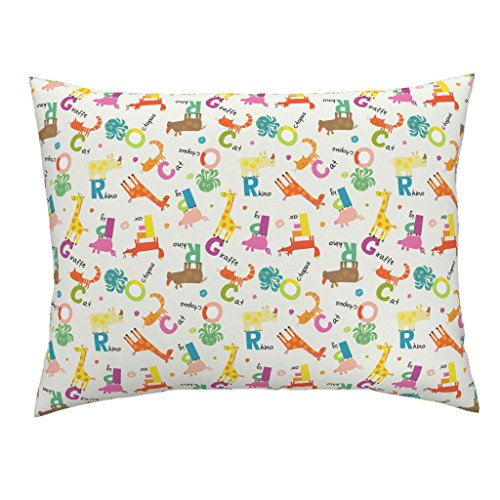 Roostery Rhinocerous Standard Knife Edge Pillow Sham Animal Alphabet by Amy Schimler-Safford Natural Cotton Sateen Made