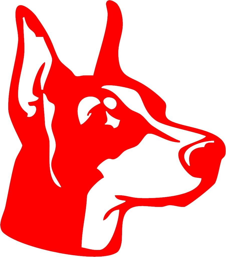 Amazon com all about families doberman head reflective red decal car truck rv boat with alcohol pad size 6 x 6 82 automotive