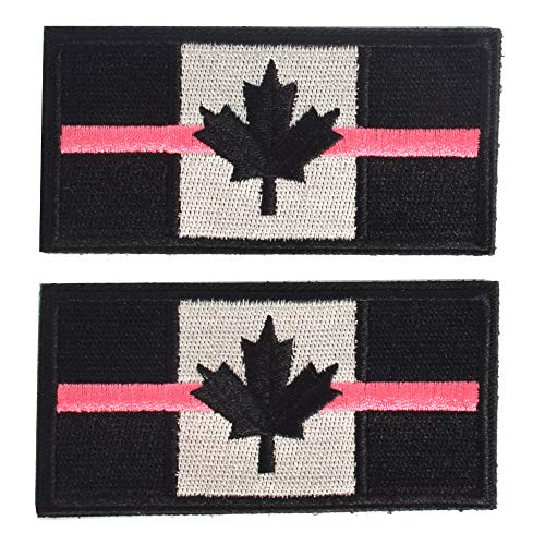 SHELCUP 2 Pieces Thin Pink Line Canada Flag Canadian Maple Leaf Tactical Morale Patches Military Emblem