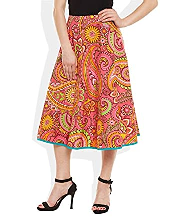 0290f559bc Very Me Women's Designer Pink Pure Cotton Printed Medium Length Skirt  Size:- L /