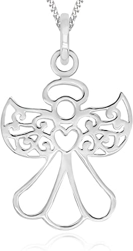 "Sterling Silver Guardian Angel 18/"" Italian Box Chain Pendant // Charm Dream"