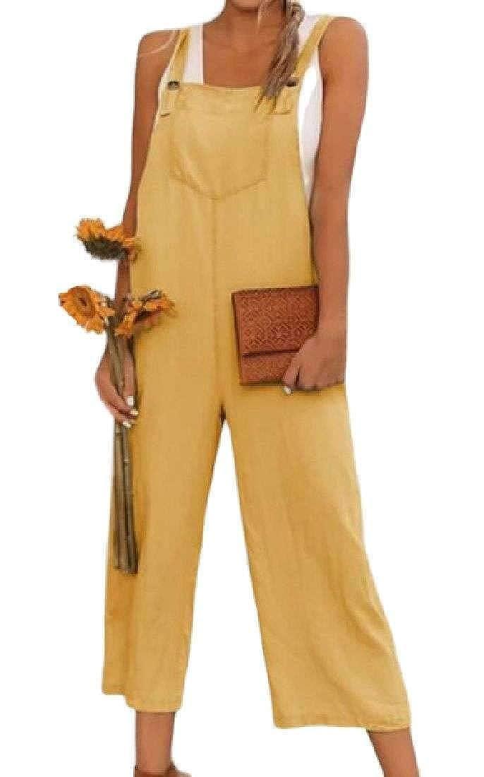 Bravepe Womens Stylish Pockets Playsuit Wide Leg Overalls Romper Jumpsuits