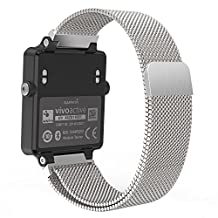 "Garmin Vivoactive Acetate Watch Band, MoKo Milanese Loop Stainless Steel Mesh Replacement Strap for Garmin Vivoactive Acetate Sports GPS Smart Watch, Fit 5.7""-8.85"", Silver"