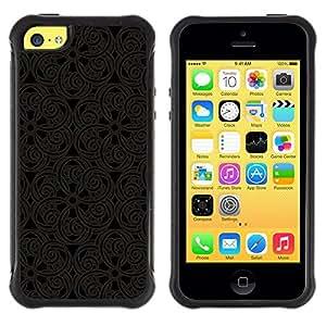 "Pulsar iFace Series Tpu silicona Carcasa Funda Case para Apple iPhone 5C , Patrón Oriental Encaje Talla Diseño de Interiores Arte"""