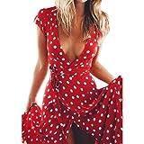 Software : Beach Dress,Clearance! AgrinTol Women Summer Boho Long Evening Party Cocktail Beach Dress (M, Red)