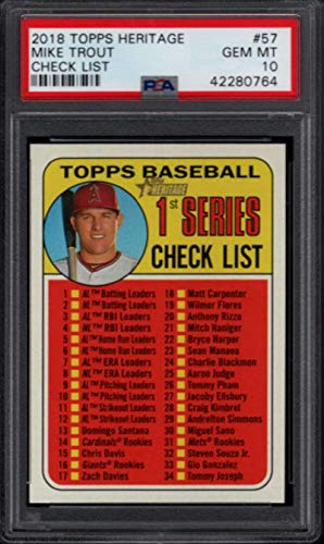 2018 Topps Checklist - 2018 Topps Heritage Checklist #57 Mike Trout Angels PSA 10 1447