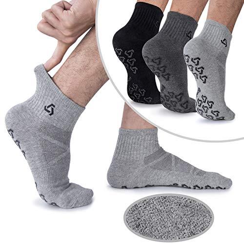 Men's Non-Skid Cushion Yoga Socks, Non-Slip Pilates, Barre, Bikram Fitness Slipper Hospital Socks with Grips