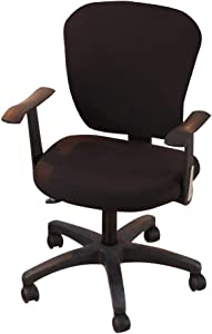 Jinzio Computer Office Chair Cover - Split Protective & Stretchable Cloth Polyester Universal Desk Task Chair Chair Covers Stretch Rotating Chair Slipcover, Black