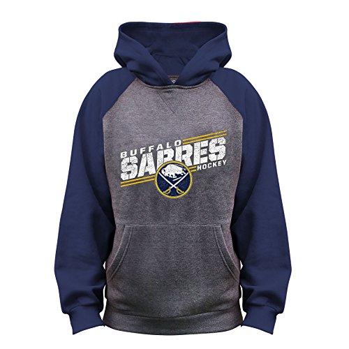 NHL Buffalo Sabres Unisex French Terry Raglan Hood, CHARCOAL/Navy, Medium ()