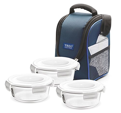 Treo by Milton Health First Round Glass Tiffin Box with Cover, 380ml, Set of 3, Transparent Glass Price & Reviews