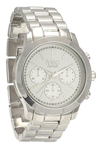M&c Ferretti Women's | Fashion Chronograph Silver-Tone Line Textured Big Dial Watch | FT14201