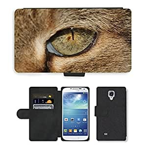 Super Stella Cell Phone Card Slot PU Leather Wallet Case // M00149172 Cat'S Eye Eye Pupil Hangover Cat // Samsung Galaxy S4 S IV SIV i9500