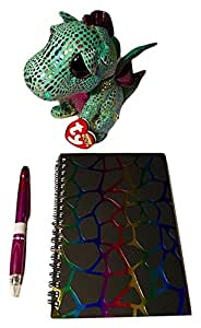 Ty Beanie Boos Beanie Baby Dragon, Shimmery Purple and Green with Multi-colored Dragon Scales; Dragon Scale-colored Notebook; Shiny Purple Click Pen With Ink In 4 Different Colors, Comfort Grip; 3-pc
