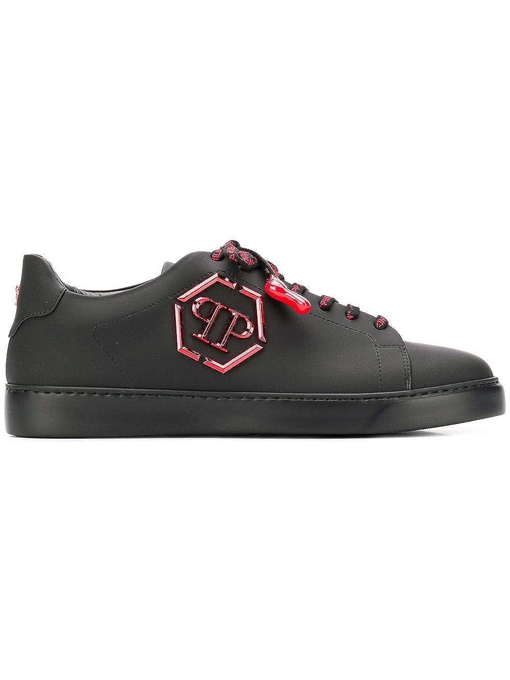(フィリッププレイン) PHILIPP PLEIN logo plaque sneakersロゴプラークスニーカー(並行輸入品) B07PX3GP91 0213 BLACK / RED 42 IT