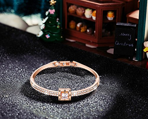 Menton Ezil Princess Crystal Bracelet Rose Gold Luxury Jewelry Adjustable Bangle Bracelets for Womens Girls Wife Anniversary Fashion Collections Loves Design by Menton Ezil (Image #4)