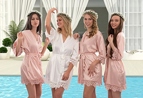 Lace robes for bridesmaids