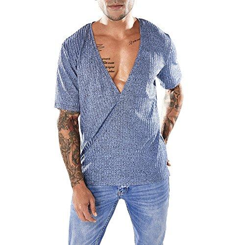 Men Deep V Neck t Shirt Sexy Stripe T Shirt Polyester Neck Undershirts Short Sleeve Clubwear (Large, Blue)