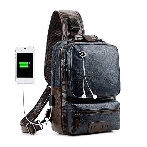 Men's Sling Bag, Crossbody PU Leather Shoulder Backpack with USB Charging Port, Vintage Chest Bag for Men (Blue) ()