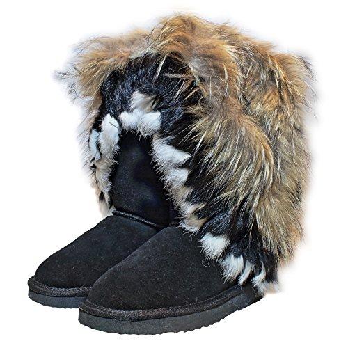 Noir d'hiver Bottes avec Chaussures bottes cuir En Long cuir pour Bottes en Fourrure fourrure femme pompon véritable H1aqS