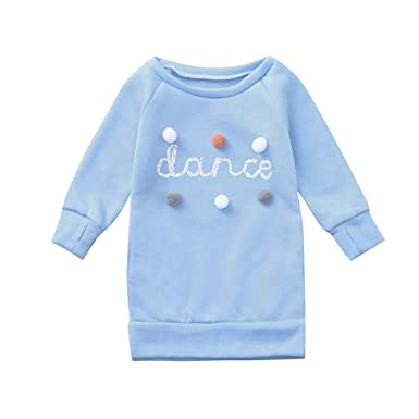 SUJING Toddler Kids Baby Girl Letter Pullover Sweatshirt Dress Clothes Outfits (Blue, 2-
