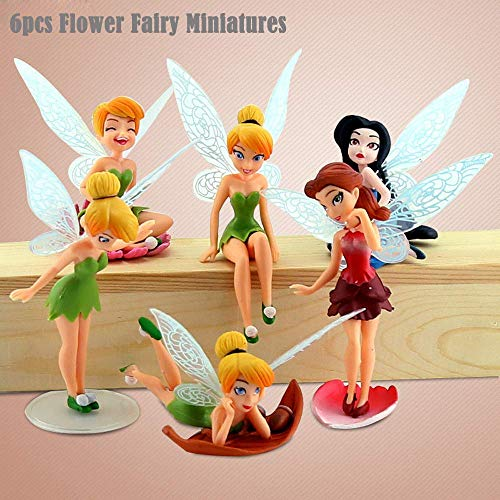 6PCS/Set Miniature Flowers Fairy Garden Home Houses Decoration Mini Craft Landscaping Decor DIY Accessories (Figurines Small Fairy)